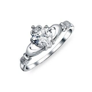 Irish Celtic Sterling Silver Heart CZ Claddagh Ring