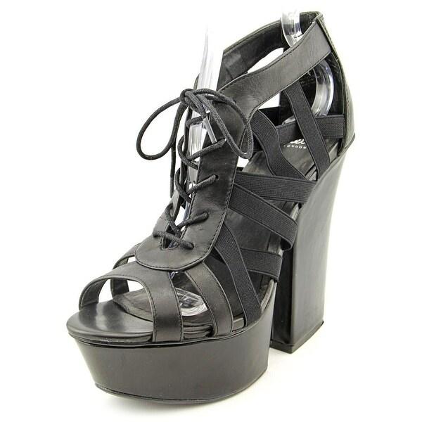 Shellys London Laufer Open Toe Leather Platform Sandal
