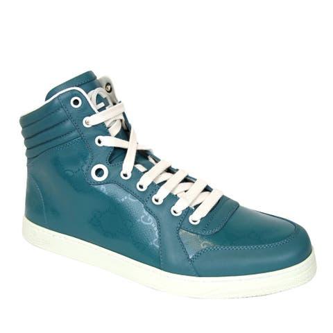 Gucci Men's Aqua GG Imprime High top Sneakers 343135 4715