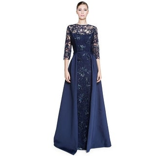 Teri Jon Embellished Illusion Lace Overlay Evening Ball Gown Dress