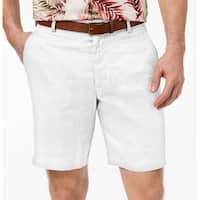 Tasso Elba White Mens 40 Classic Fit Linen Khakis Chinos Shorts