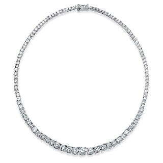 Bling Jewelry Bridal Graduated CZ Tennis Necklace 16 Inches Rhodium Plated