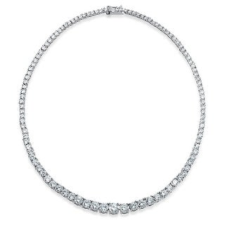 Link to Bridal Cubic Zirconia Graduate Round Solitaire Statement AAA CZ Tennis Necklace For Women For Prom Silver Plated Brass Similar Items in Necklaces