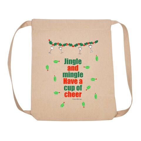 "18"" Beige Adjustable Backpack with Jingle and Mingle Design"
