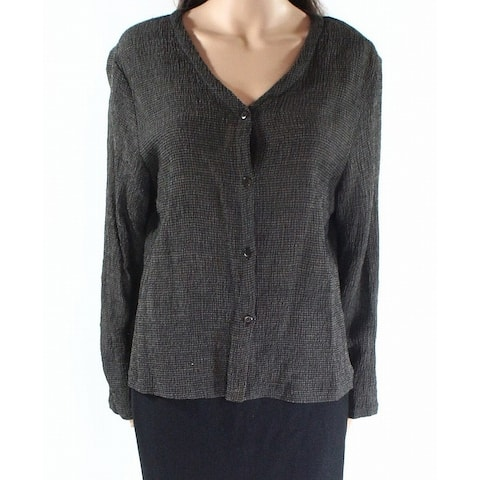 e2c86fca060 SALE. Eileen Fisher Brown Womens Size Medium M Button-Up Cardigan Sweater