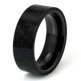 Titanium Black Carbon Fiber Plain Men's Ring