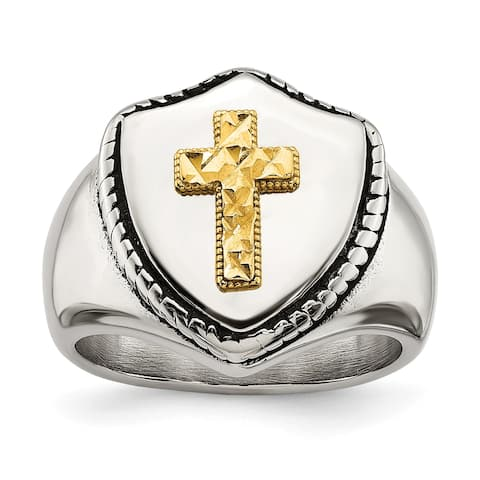Chisel Stainless Steel with 14K Yellow Gold Accent Antiqued and Polished Cross on Shield Ring