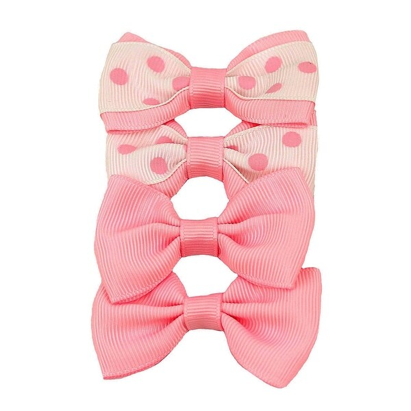 Butter Mint Polka Dot Grosgrain Bow Clip Set