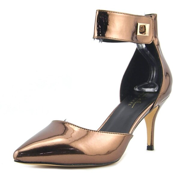 Nicole Miller Brandy Women Pointed Toe Synthetic Bronze Slingback Heel