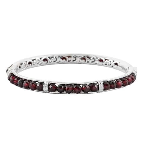 Shop LC Platinum Red Garnet Bangle Cuff Bracelet Size 8 Inch Ct 21.8 - Bracelet 8''