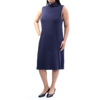ALFANI $89 Womens New 1027 Navy Textured Sleeveless A-Line Dress L B+B