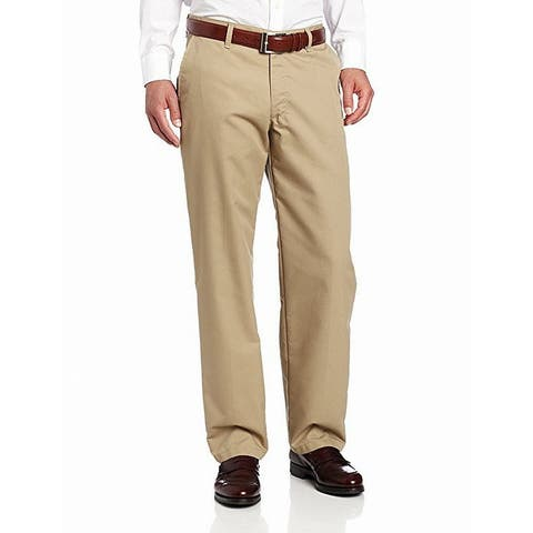 Lee Mens Dress Pants Beige Size 42x30 Flat Front Relaxed Fit Khakis