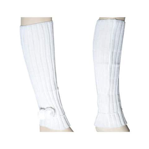 Women's Ivory Solid Color Knit Leg Warmer w/Pom-Pom Accents LW1020