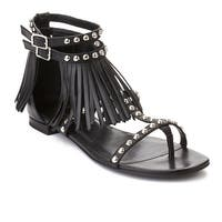 Saint Laurent Women's Fringed Leather Sandals Shoes Black