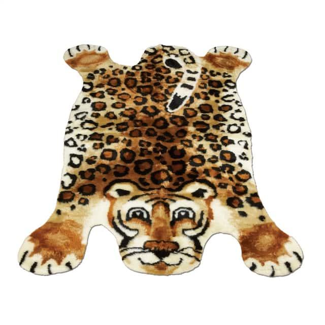 "Walk on Me Kids Playmat Animal Faux Fur/ Faux Sheepskin Machine Washable Area Rug - 3'3"" x 4'7"" - Leopard"