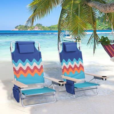 Alpha Camp 2-Piece Lightweight 5-Position Folding Lay Flat Beach Chairs with Tower Bar