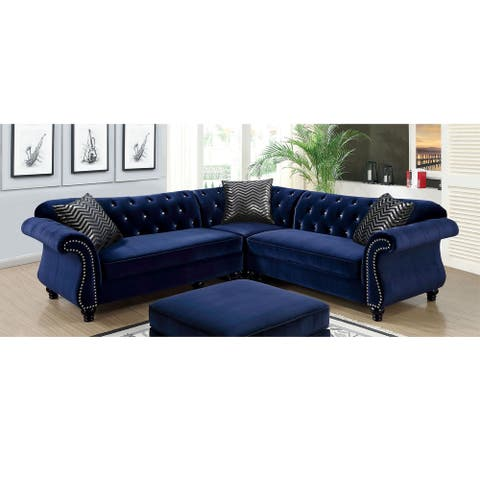 Furniture of America Yese Traditional Flannelette Sectional Sofas