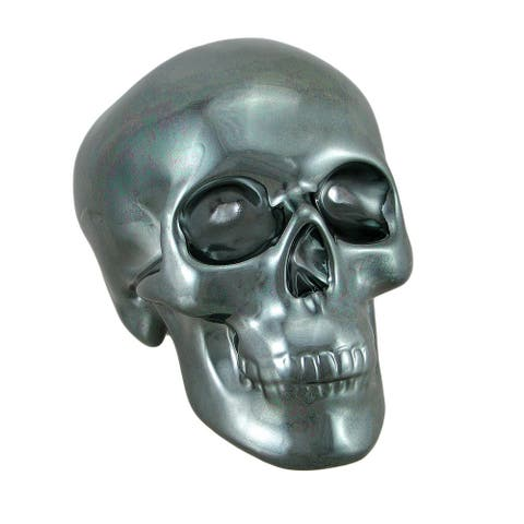 Polished Gunmetal Black Chrome Plated Ceramic Human Skull Money Bank - 5.25 X 7.5 X 4.75 inches