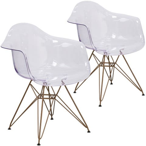 Clear Side Chairs with Goldtone Metallic Bases (Set of 2)