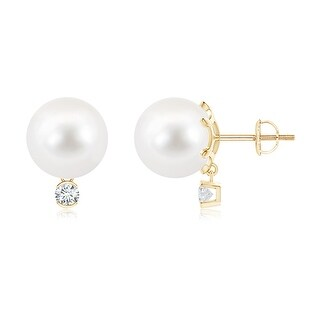 Angara 10mm Freshwater Cultured Pearl Solitaire Stud Earrings with Dangling Diamond