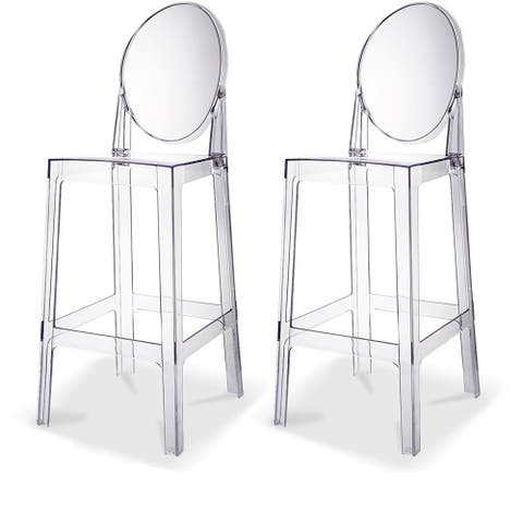 Modern Armless Clear 30-inch Barstools (Set of 2)