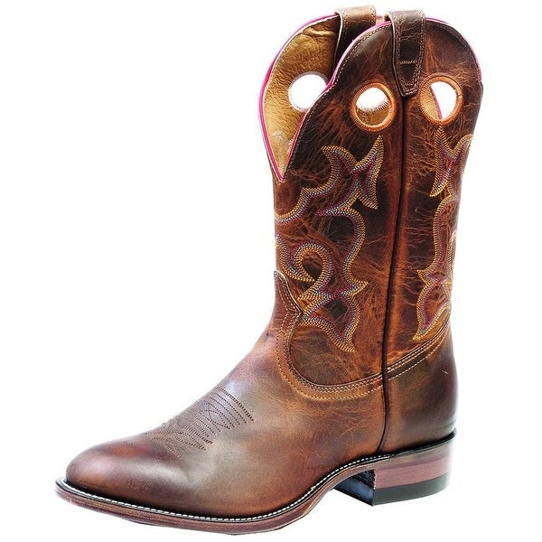 Boulet Western Boots Men Cowboy Leather Roper Laid Back Tan Spice