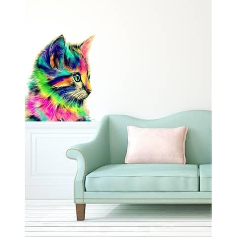 Colorful Cat Polygonal Wall decal, Cat Modern wall art, sticker