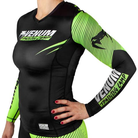 Venum Women's Training Camp 2.0 Long Sleeve Rashguard - Black/Neon Yellow