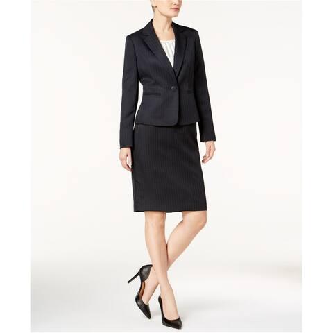 Le Suit Womens Shadow-Stripe Pencil Skirt, Blue, 4
