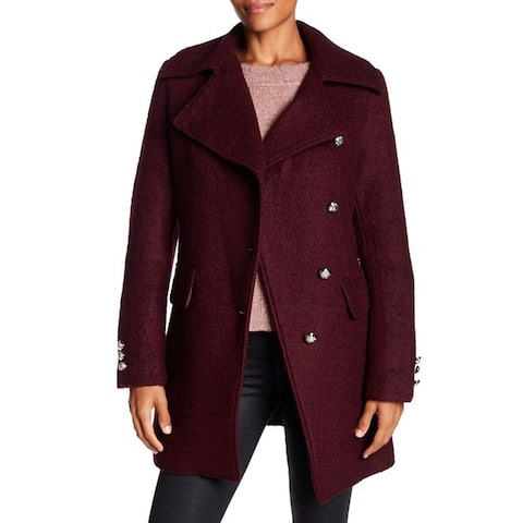 Laundry by Shelli Segal Boucle Military Coat, Merlot, Small