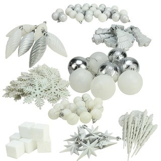 125-Piece Club Pack of Shatterproof Ice Palace White Christmas Ornaments