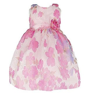 Good Girl Fuchsia Burnout Floral Print Easter Dress Little Girls 6M-12