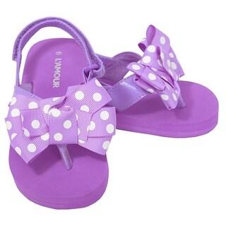 L'Amour Purple Polka Dot Bow Wedge Flip Flop Sandals Toddler Girl 5-10