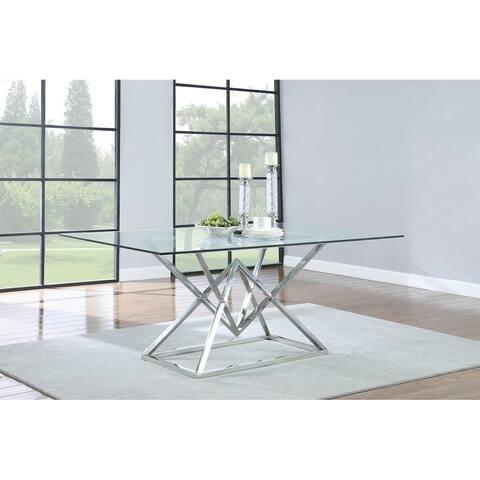 Strick & Bolton Sufjan Chrome/ Glass Dining Table