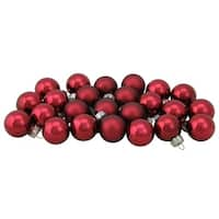 "24ct Burgundy Shiny and Matte Christmas Glass Ball Ornaments 1"" (25mm) - RED"
