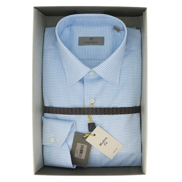 Canali Grey Check Formal Shirts