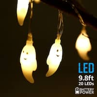 Halloween Copper Wire String Lights,Ghost Pendants,Warm White,Waterproof, Battery Powered, 8 Modes