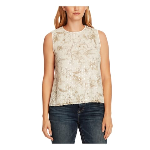 VINCE CAMUTO Womens Purple Floral Sleeveless Jewel Neck Top Size XL