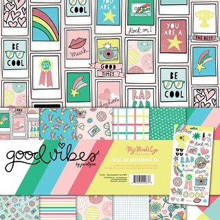 """My Mind's Eye Paper & Accessories Kit 12""""X12""""-Good Vibes"""