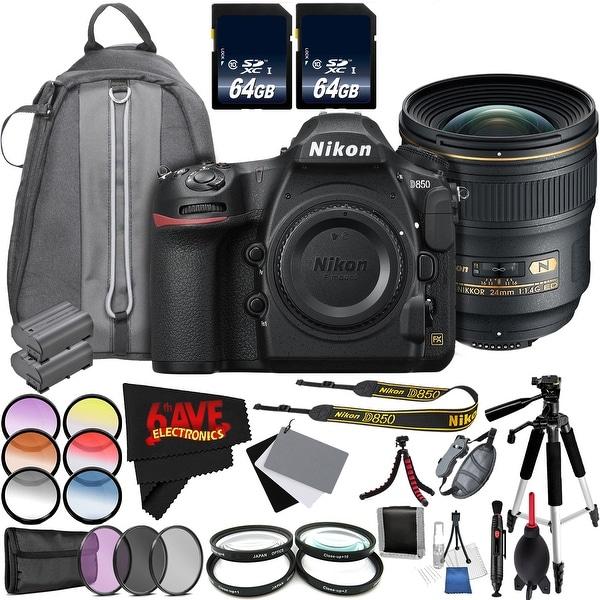 Nikon D850 DSLR Camera (Body Only) International Model + Nikon AF-S NIKKOR 24mm f/1.4G ED Lens + 77mm 3 Piece Filter Kit Bundle