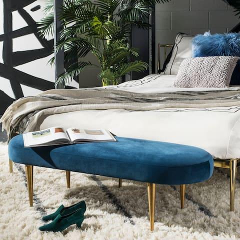 "SAFAVIEH Couture Corinne Velvet Oval Bench- Navy / Gold - 48.4"" W x 18.3"" L x 15.8"" H"