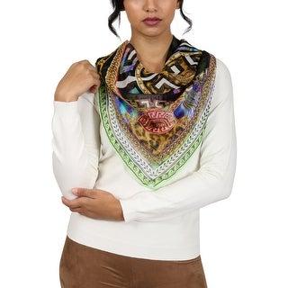 Versace Green Pschydelic Greca Print Silk Foulard Scarf