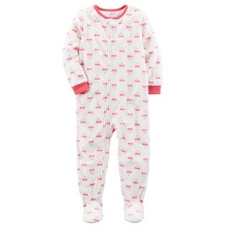 Carter's Baby Girls' 1 Piece Heart Fleece Pajamas, 24 Months
