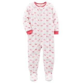 Carter's Little Girls' 1 Piece Heart Fleece Pajamas, 3-Toddler