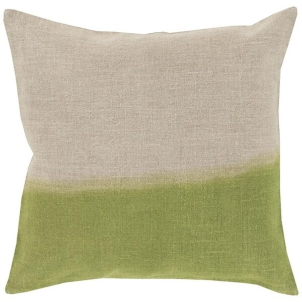 """20"""" Lime Green and Gray Dip Dyed Decorative Throw Pillow"""