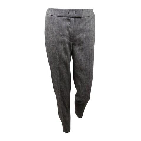 Anne Klein Women's Linen Blend Slim Suit Pants - Black/White