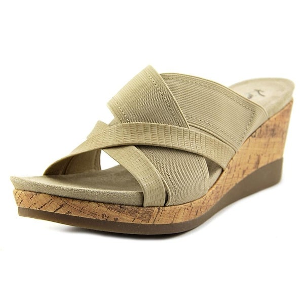 Kim Rogers Gayla Women Open Toe Canvas Nude Wedge Sandal