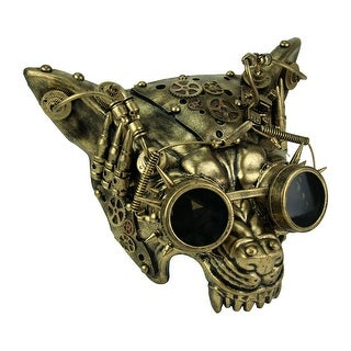 Mad Dog Metallic Gold Steampunk Wolf Face Mask - 6.25 X 11 X 10.75 inches