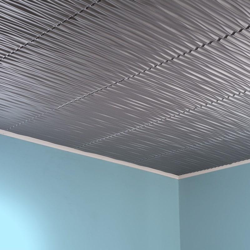 Fasade Dunes Vertical Decorative Vinyl 2ft X 2ft Glue Up Ceiling Tile In Argent Silver 5 Pack Overstock 32192234