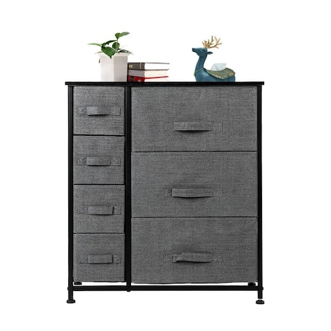 Dresser with 3 Big 4 Small Drawers,Furniture Storage Tower Unit,Grey